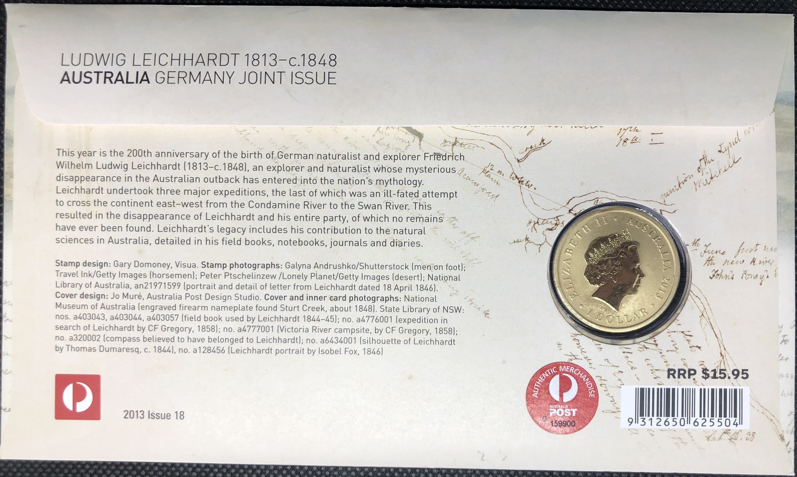 2013 PNC Ludwig Leichhardt 1813-c.1848  Joint Issue
