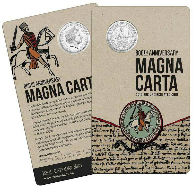 2015 - 800 years of the Magna Carta Twenty Cents