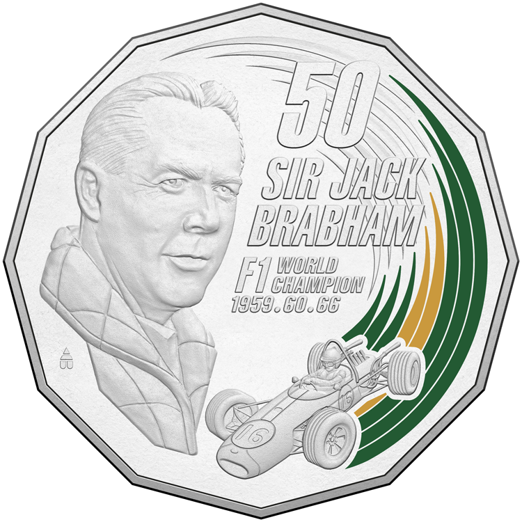 2017 - Sir Jack Brabham Coloured Coin Fifty Cents