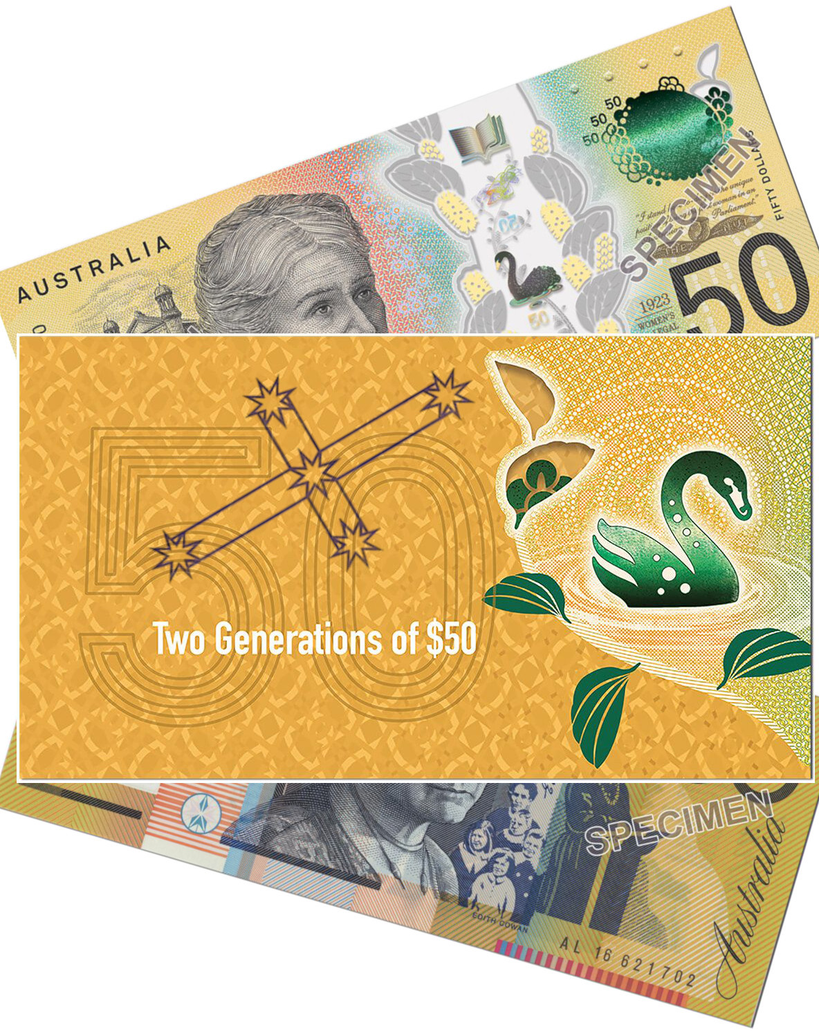 RBA Two Generations $50 Uncirculated Banknote Pair Folder