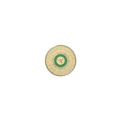 2014 - $2 Remembrance Dove, Green Coloured Coin